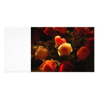 Roses I - Orange Red and Gold Glory Custom Photo Card