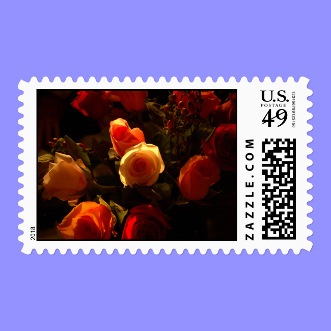 Roses I - Orange, Red and Gold Glory Postage Stamps