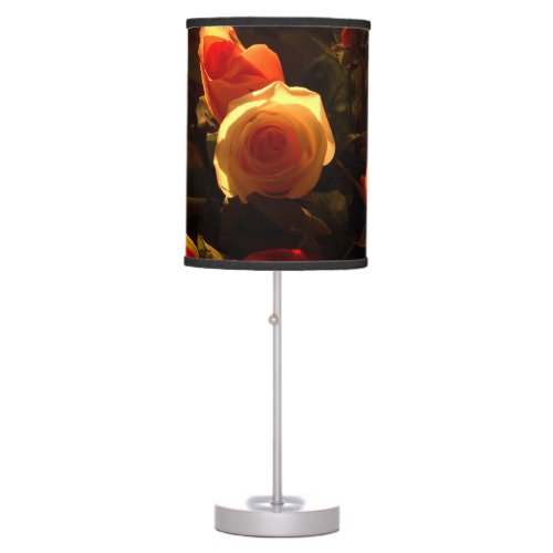 Roses I - Orange, Red and Gold Glory Table Lamp