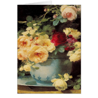 Roses in a Blue Bowl Greeting Card