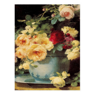 Roses in a Blue Bowl Postcard