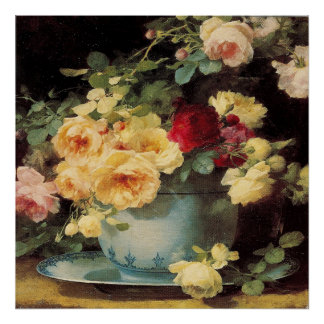 Roses in a Blue Bowl Poster