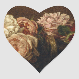 Roses in a Bowl - Henri Fantin-Latour Heart Sticker