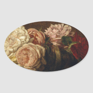 Roses in a Bowl - Henri Fantin-Latour Oval Sticker