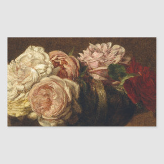 Roses in a Bowl - Henri Fantin-Latour Rectangular Sticker