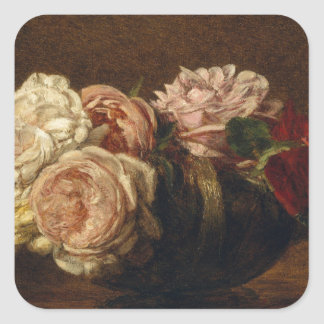 Roses in a Bowl - Henri Fantin-Latour Square Sticker