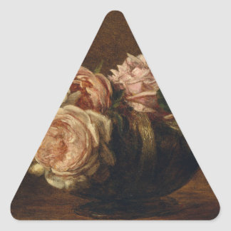Roses in a Bowl - Henri Fantin-Latour Triangle Sticker
