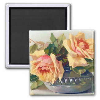Roses in a Bowl Vintage Art Magnet