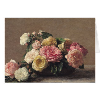 Roses in a Dish, 1882 Card
