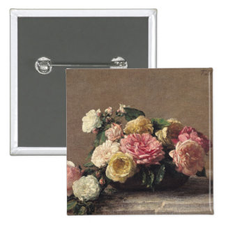 Roses in a Dish, 1882 Pinback Button