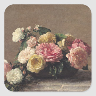 Roses in a Dish, 1882 Square Sticker