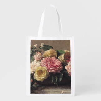 Roses in a Dish, 1882 Reusable Grocery Bags