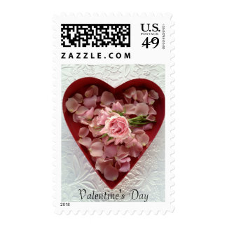 Roses in a heart box on texture postage