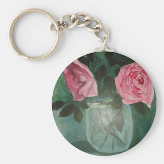 Rose's in a jar key ring basic round button keychain