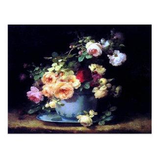 Roses in a Porcelain Bowl by Emilie Vouga Postcard