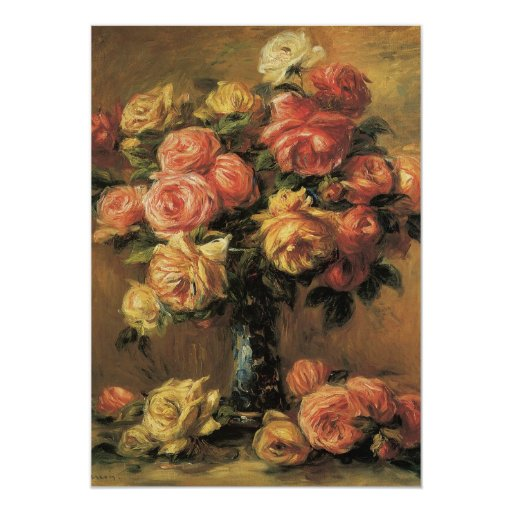 """Roses in a Vase 3 by Renoir, Wedding 5"""" X 7"""" Invitation Card"""
