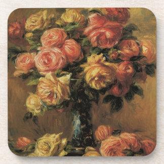 Roses in a Vase by Pierre Renoir, Vintage Fine Art Beverage Coaster