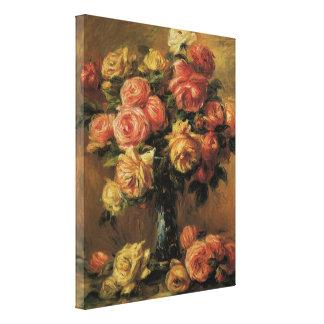 Roses in a Vase by Pierre Renoir, Vintage Fine Art Canvas Print
