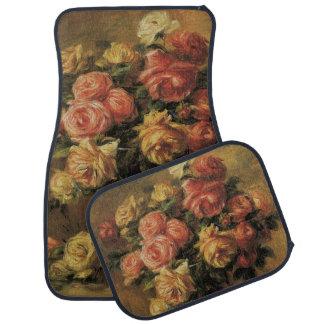 Roses in a Vase by Pierre Renoir, Vintage Fine Art Car Floor Mat