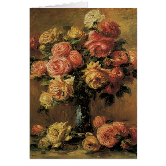 Roses in a Vase by Pierre Renoir, Vintage Fine Art Card
