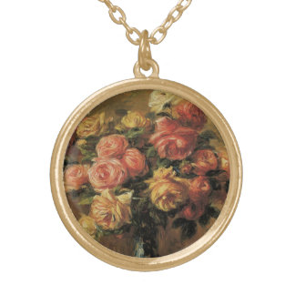 Roses in a Vase by Pierre Renoir, Vintage Fine Art Gold Plated Necklace