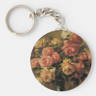Roses in a Vase by Pierre Renoir, Vintage Fine Art Keychain