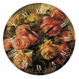 Roses in a Vase by Pierre Renoir, Vintage Fine Art Large Clock