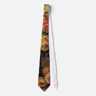 Roses in a Vase by Pierre Renoir, Vintage Fine Art Neck Tie
