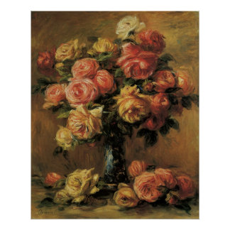 Roses in a Vase by Pierre Renoir, Vintage Fine Art Poster