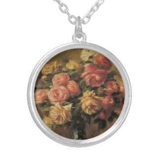 Roses in a Vase by Pierre Renoir, Vintage Fine Art Silver Plated Necklace