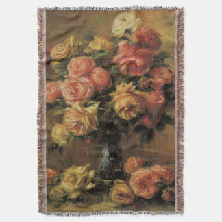 Roses in a Vase by Pierre Renoir, Vintage Fine Art Throw