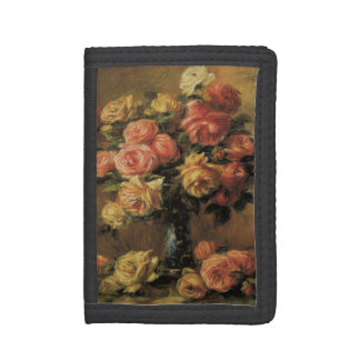 Roses in a Vase by Pierre Renoir, Vintage Fine Art Trifold Wallet