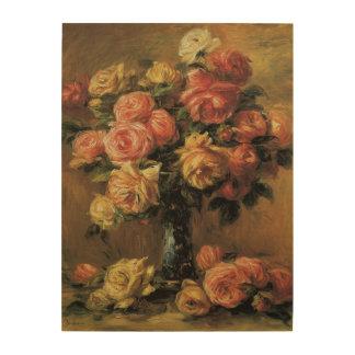 Roses in a Vase by Pierre Renoir, Vintage Fine Art Wood Wall Art