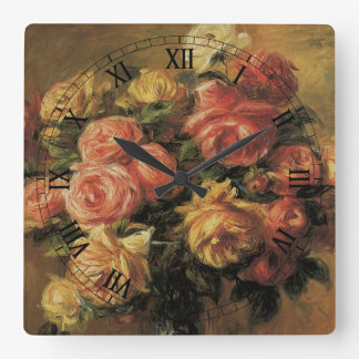Roses in a Vase by Renoir, Vintage Impressionism Square Wallclocks