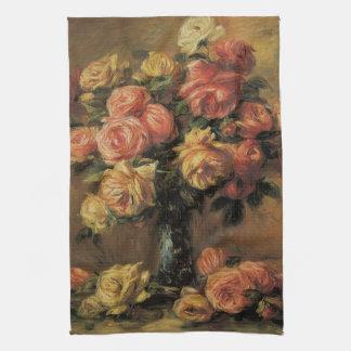 Roses in a Vase by Renoir, Vintage Impressionism Hand Towels