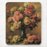 Roses in a Vase by Renoir, Vintage Impressionism Mouse Pad