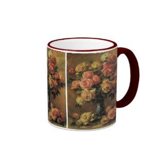 Roses in a Vase by Renoir, Vintage Impressionism Ringer Coffee Mug