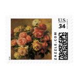 Roses in a Vase by Renoir, Vintage Impressionism Stamp