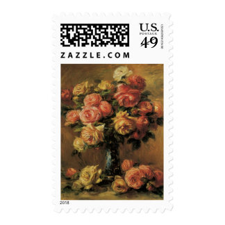 Roses in a Vase by Renoir, Vintage Impressionism Postage Stamps