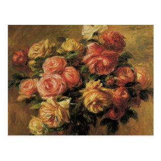 Roses in a Vase by Renoir Vintage Impressionism Postcard