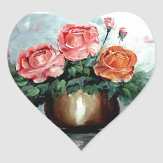 Roses in a Vase Heart Sticker