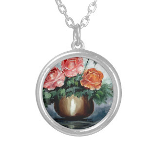 Roses in a Vase Necklace