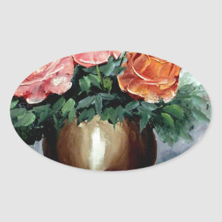 Roses in a Vase Oval Sticker