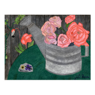 Roses In A Watering Can Postcard