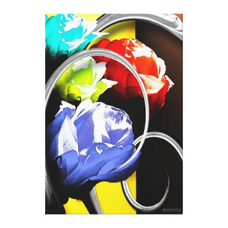 Roses in Abstract Print Canvas Print