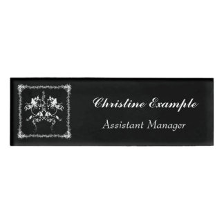 roses in black and white name tag