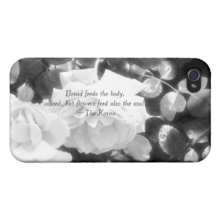 Roses in black and white-with Koran quote iPhone 4/4S Cover