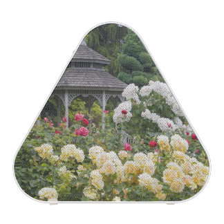 Roses in bloom and Gazebo Rose Garden at the Bluetooth Speaker
