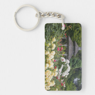Roses in bloom and Gazebo Rose Garden at the Rectangular Acrylic Key Chain