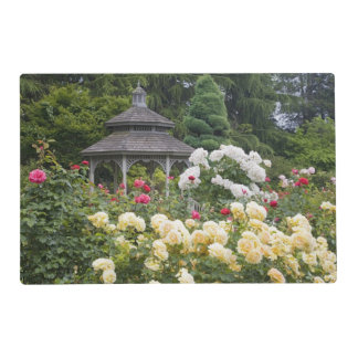 Roses in bloom and Gazebo Rose Garden at the Placemat
